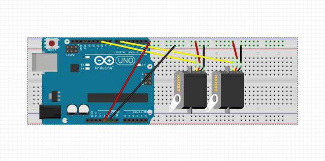 Android Mobile Camera Stand बनाये Arduino uno से servo control के लिए circuit