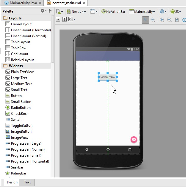 android studio Button को drag कर के design में drop करें
