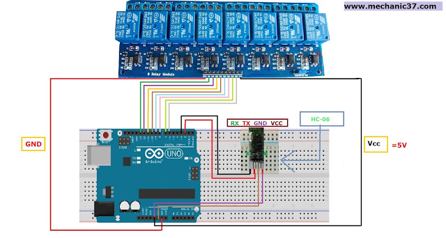 8 channel relay board को arduino और bluetooth से connect करें