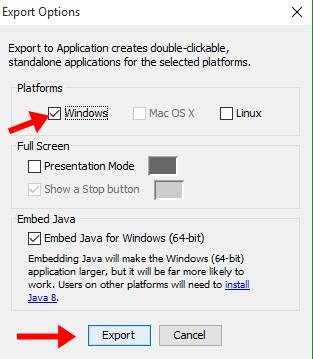 choose operating system To export exe file