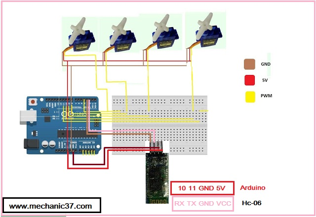 CIRCUIT DIAGRAM FOR Home Automation Arduino mobile app