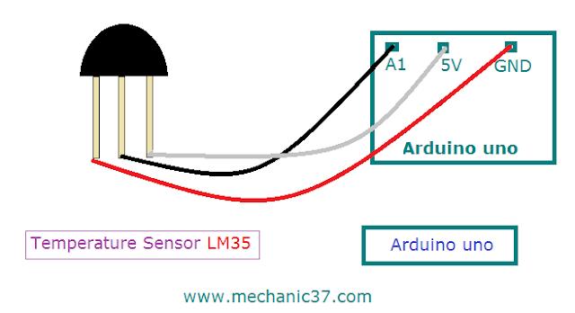 circuit बनाना Arduino को lm35 से connect करके