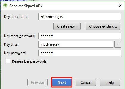keystore path create करने के लिए next button पर click करें